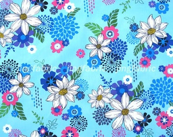 C122 - 1 meter  SDLP Cotton Fabric - Beautiful flowers (150cm width)