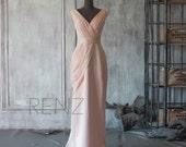 2016 Peach Chiffon Bridesmaid dress, Asymmetrical Backless Wedding dress, V neck Prom dress, Long Formal dress Floor length (F107)-Renzrags