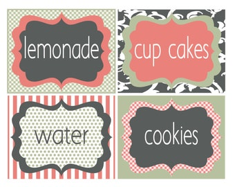 Custom food label tags; DIY food tag; You add text; instantly print; edit font, size, color, party decor, shabby chic; DIY drink labels