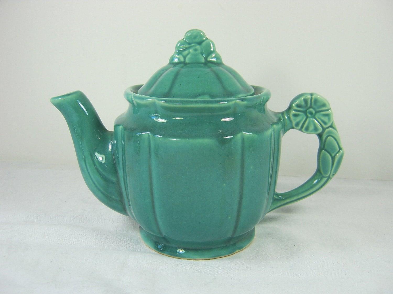 Vintage teal teapot flower handle lid by