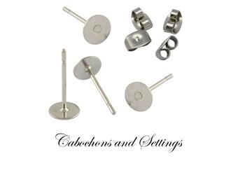 100 Earring Stud Posts 6mm Glue Hypo-allergenic 304 Stainless Steel Pin, Budget Range - AUSTRALIA