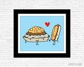 Cincinnati Style Chili 3 Way and Cheese Coney illustration Print