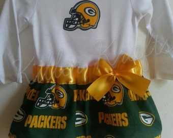 Green Bay Packers inspired baby girl outfit B