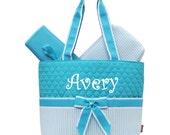 Personalized Seersucker Diaper Bag Set Baby Boy or Girl  Aqua & White Diaperbag 3 piece set Monogrammed FREE