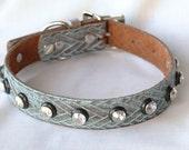 Western Leather Dog Collar. Full Grain Leather, Turquoise, Medium Leather Dog Collar