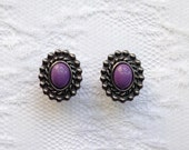 Purple Gunmetal Gray Vintage Style Boho Plugs Gauges Size 0g (8mm)