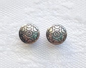 Silver Ornate Heart Flower Button Vintage Style Wedding Pair Plugs Gauges Size: 0g (8mm), 00g (10mm)