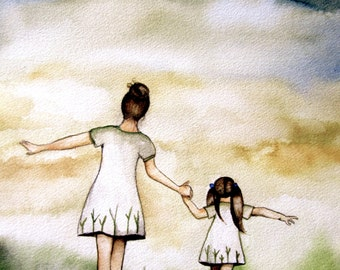 """Mother and daughter """"our path"""" art print white version, gift idea mother's day"""