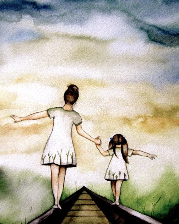 "Mother and daughter ""our path"" art print white version, gift idea mother's day"