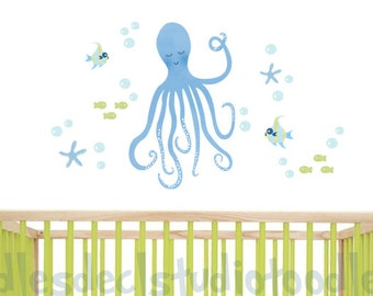 Octopus Wall Decal for Boys room - Sealife Decals for bathroom - Blue Octopus - Ocean Stickers - Bathroom Wall Decal - Kids Beach Art