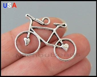 1 BICYCLE Connector Charm - Antiqued Silver Tibetan Style Bike w/ Heart Charm Link - Instant shipping - USA Wholesale Charms - 5996
