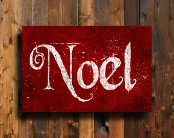 Noel - Christmas sign - Christmas art - Christmas decor - Red Christmas sign - Red Christmas decor - Christmas canvas