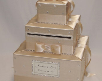 Champagne Wedding Card box-custom made- any color