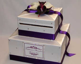 White and Eggplant(dark purple) Wedding Card Box-any flower-any colors