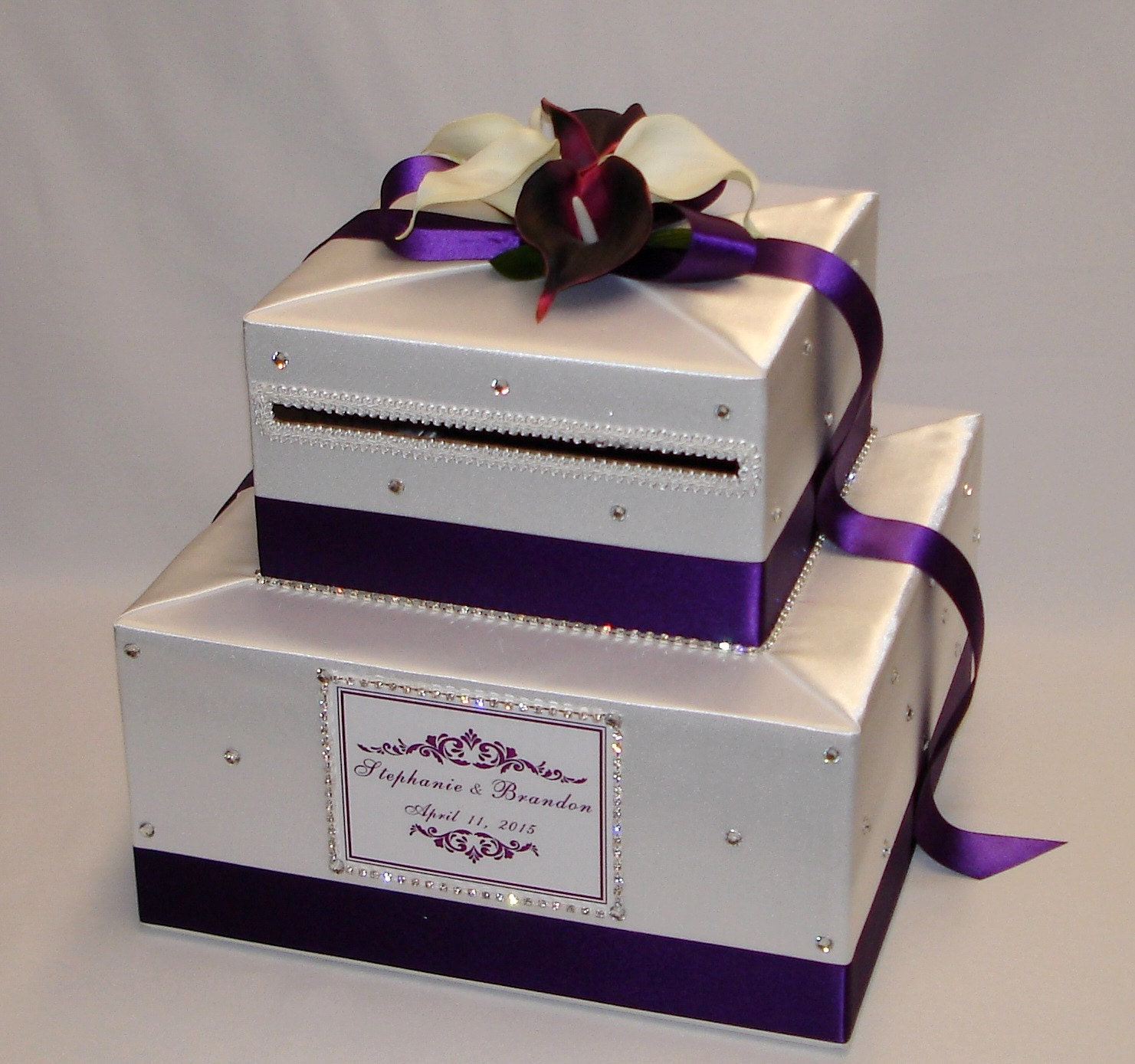 White and Eggplantdark purple Wedding Card Box any