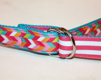 Girls Reversible Belt Girls Turquoise Belt Reversible to Pink Stripes Teen Aqua Belt Hot Pink Girls D ring Belt