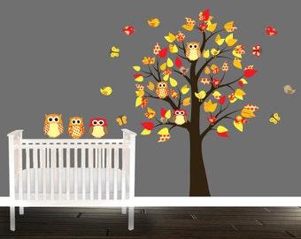 Wall decals nursery, Vinyl Wall decals, Owl Wall Decal, Tree wall decal, nursery wall sticker, children rooms, wall decor