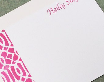 Ikat Inspired Hot Pink Personalized Flat Notes  Set of 15