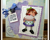 Handmade Happy Birthday Girl with Cake Greeting Card with doily and bow