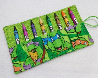 Teenage Mutant Ninja Turtles Fabric print Crayon Roll Up. Ready to Ship