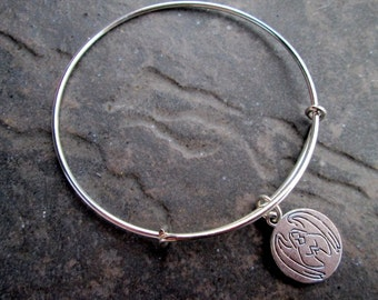 "Health Angel adjustable bangle bracelet Get Well Gift Reversible charm that reads ""Guardian angel for health"" Angel bracelet"