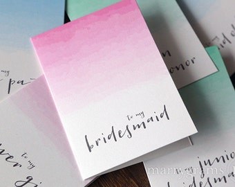 Bridesmaid Thank You Cards - To My Bridesmaid, Maid of Honour, Flower Girl, Bridal Party Wedding Thank You Notes Ombre Pink, Blue Green CS11