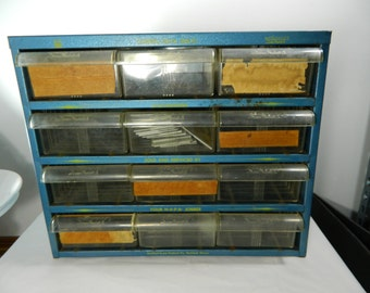 Vintage Metal Storage With Drawers Store Display, Small Drawer Storage, Craft Storage Napa Rockford Screw Products