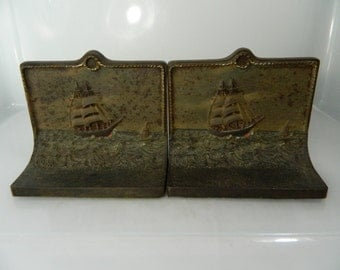 Vintage Cast Iron Bookends, Bradley and Hubbard Clipper Ship Bookends