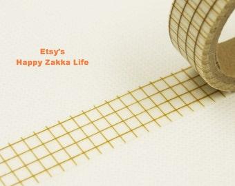 Japanese Washi Masking Tape - Brown Grid - 11 yards