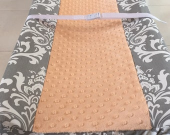 Changing pad cover, Gray Damask/ Peach Minky, ships in 2 days