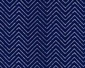 Organic Navy Blue Chevron Fabric - Cosmic Convoy by Michéle Brummer Everett from Cloud 9 - 1/2 Yard