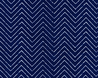 Organic Navy Blue Chevron Fabric - Cosmic Convoy by Michéle Brummer Everett from Cloud 9 - 1/2 Yard