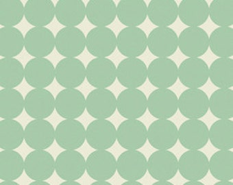 Aqua and Cream Polka Dot Fabric - True Colors by Heather Bailey from Free Spirit - 1/2 Yard