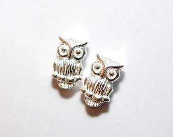 925 sterling silver owl  5mmx10mm - 2pcs