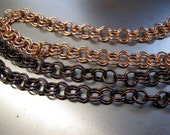 "Copper Double Link Cable Chain, Bulk Lengths, 8.21mm Round Links, Bright Copper or Hand Oxidized, 6"" to 72"""