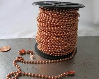 100 Ft. COPPER BALL CHAIN, 3.2mm Bright Copper, Bulk Spool with 100 Connectors