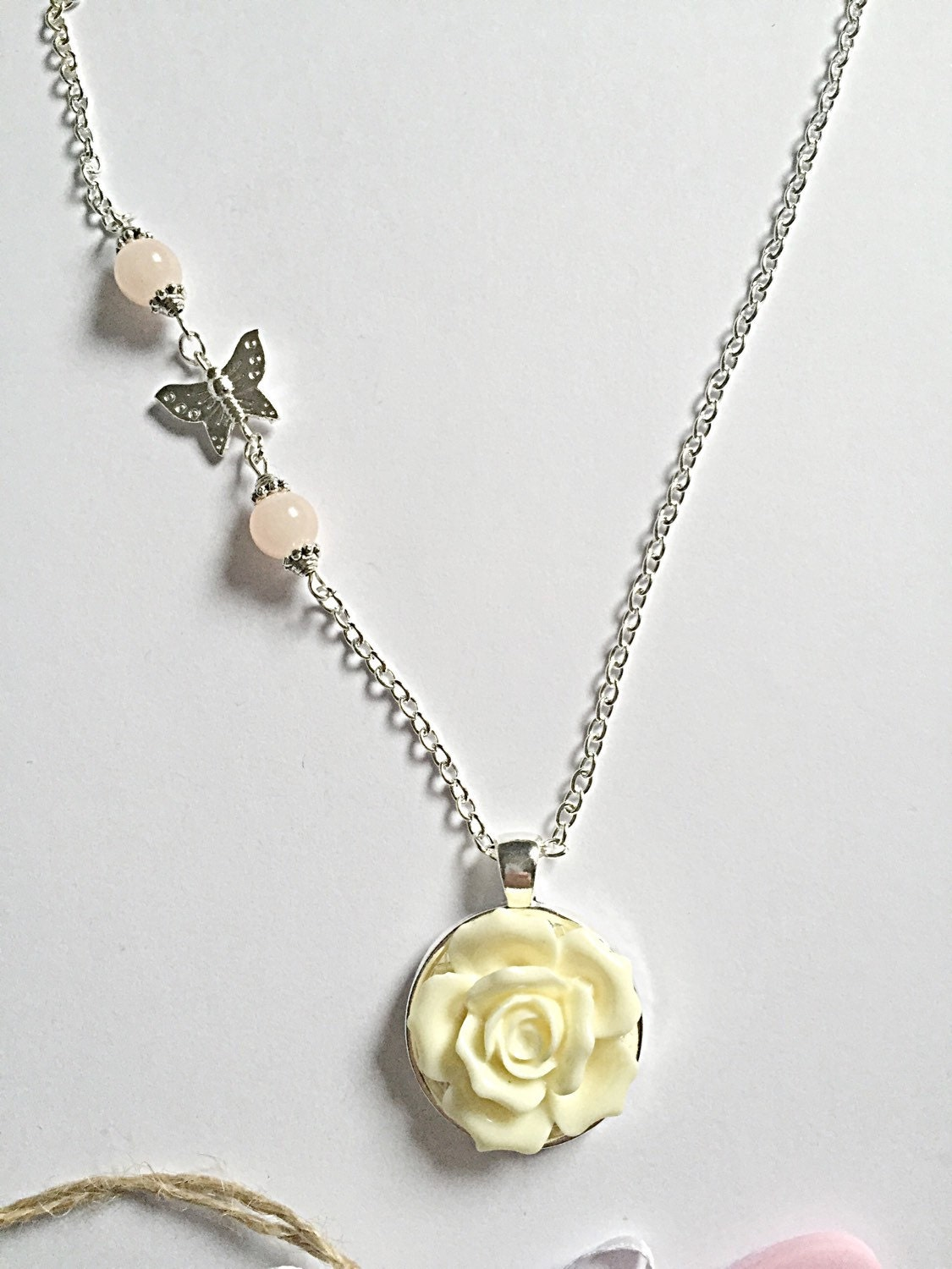 yellow flower necklace flower pendant butterfly charm