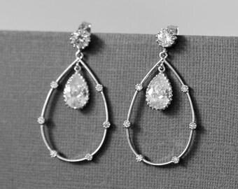 10% OFF, Wedding Drop earrings, White Gold Earrings, Bridal earrings, Clear earrings, Post earrings, Stud earrings, Crystal earrings, Gift