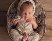 PDF Knitting Pattern DISCOUNT set- newborn photography prop_Olivia jumpsuit & Elijah bonnet SET #117