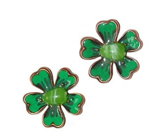Dogwood Flower Pendants Set of Two Emerald Green Enamel Stone and Copper Supplies Jewelry Supplies