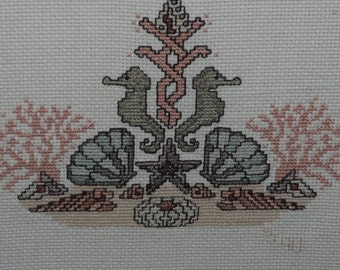 Seahorses Counted Cross Stitch Picture Framed Green Peach Coral Sea Shell Sea Horse Nautical Picture Bathroom Beach Cottage
