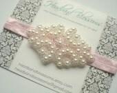 Stunning Pearl Beaded Elastic Headband - Bridal Wedding Accessory - Photo Prop - Light Pink - Flower Girl - Valentine's