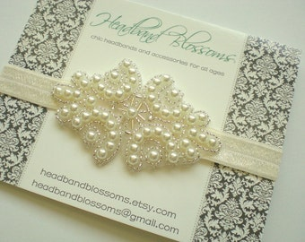 Stunning Pearl Beaded Elastic Headband - Bridal Wedding Accessory - Photo Prop - Silver - Flower Girl - New Photo Prop