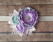 Sea Foam Green and Lavender Rosette Maternity Sash Ivory and Cream Leaves Lace Bridal Sash Maternity Pregnancy Flower girl bridesmaid sash