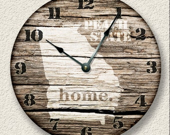 GEORGIA Home State Wall CLOCK  - Barn Boards pattern  - Peach State - rustic cabin country wall home decor