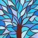 Kerri Ambrosino Art NEEDLEPOINT Mexican Folk Art  Tree of Life Flowers Blue