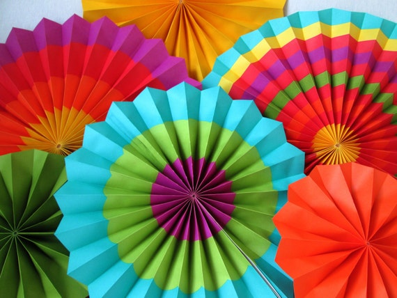 Fiesta Decoration Hanging Fans Rosettes Paper Pinwheels Fiesta