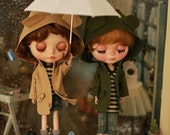 Miss yo 2015 Summer & Autumn - Miss yo Wind Coat with Animal Ear Hat for Blythe doll - dress / outfit - Green / Beige