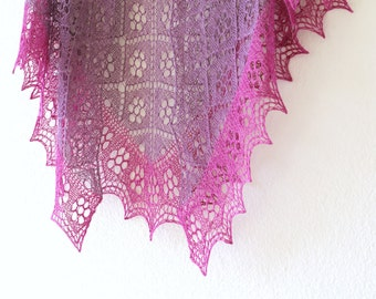 Hand knit shawl in purple lavender fuchsia color wrap gift for her valentine's day gift