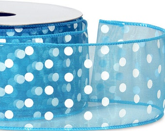 "5YDS Wired Edge 2-1/2"" Sheer Ribbon Turquoise Blue & White Polka Dots"